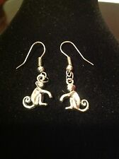 Hook earring  with monkey charms silver plated