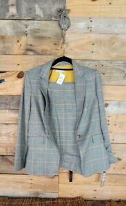 Tahari Women Tan Brown Multi Plaid Pant Suit Set Blazer Sz 6 Pants Sz 8 Elegant