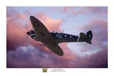 """WWII WW2 RAAF Bobby Gibbes Spitfire Aviation Art Photo Print - 12"""" X 18"""""""