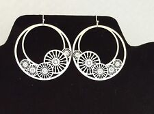 Stamped Hoop Earring Wire Hook Pierced Ear Drop Dangle Earring Silver Tone