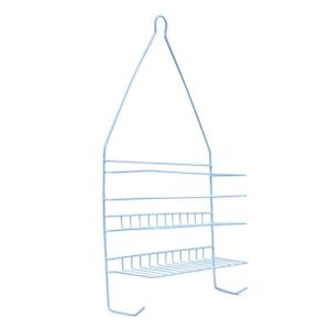 Hanging White Metal Shower Head Caddy Bathroom Storage Bath Shelf Organizer Rack