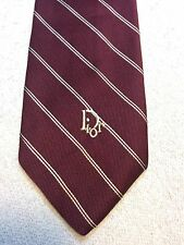 Vintage Christian Dior Mens Tie 3.75 X 57 Burgundy With White Stripes