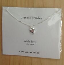 Estella Bartlett Engraved Heart Silver Plated Necklace Pendant Girlie Gift NEW