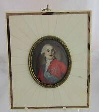 Antique Artist Signed Hand Painted King Louis XVI Framed Miniature Portrait