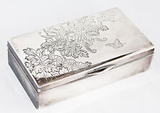 VINTAGE JAPANESE 950 STERLING SILVER CHRYSANTHEMUM SCENE ENGRAVED BOX JAPAN WAKO