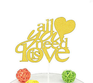 VINCENZA ALL YOU NEED IS LOVE PAPER CAKE TOPPER DECORATION ANNIVERSARY / WEDDNG