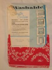 New listing Vintage 1960s Red & White Flocked 100% Cotton Cafe Curtains With Valance Usa Nip