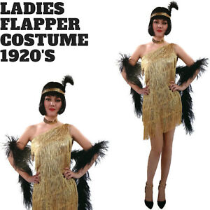 Ladies Flapper Costume Charleston Gatsby Chicago Fancy Dress Party 1920s 20s - G