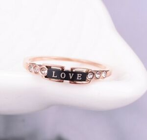 Fashion Women Rose Gold Plated CZ Love Bar Titanium Stainless Steel Ring 6-8
