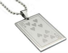 Collier Carte Dix de Coeur Acier Steel Pendant Ten 10 of Heart Card Poker Casino