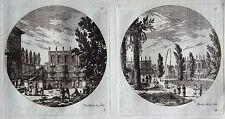 Gravure Etching Incisione Kupferstich PERELLE Fontaines et Bassins 3 & 4