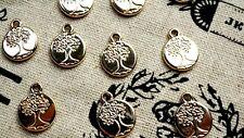 Árbol Redondo Oro 8 Encantos Estilo Vintage Joyería suministros C373