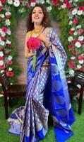 Indian Traditional soft lichi  Silk wedding party wear saree sari jacquard work
