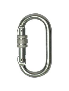 Axis 25KN Oval Screw Gate Carabiner Silver
