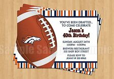 Denver Broncos Birthday Party Football Super Bowl Invitations ANY AGE