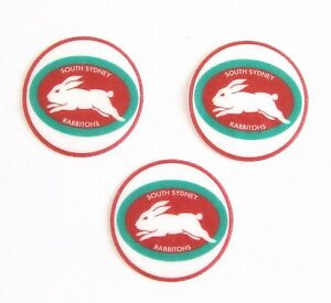 12 Pre Cut South Sydney Rabbitohs EDIBLE rice wafer card cupcake toppers