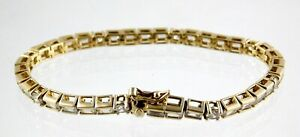 Ross Simons Vermeil CZ Baguette Cut Tennis Bracelet 925 Gold Plate on Sterling