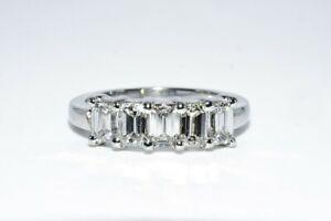 $4,500 1.40CT 5 STONE NATURAL EMERALD CUT WHITE DIAMOND PLATINUM WEDDING BAND