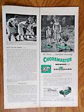 1958 Choremaster Lawn Mower Tractor Ad Big Lawn little Job Riding Rotoary