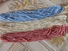 lot 3600 perles 3 couleurs grain de riz en verre ancienne rose bleu ivoire 26€