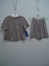 USA Made Nancy King Lingerie Top w/ Shorts Pajama Set Size Small Multi #255C
