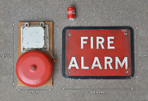 Vintage fire bell metal old electric fire alarm bell and sign - FREE POSTAGE