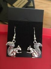 Squirrel Earrings, Wildlife, Countryside, Sterling Silver hooks (stamped)