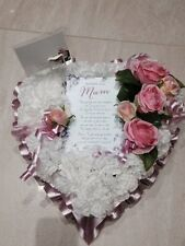 Artificial Flower Heart with poem pink and White  - funeral /memorial tribute