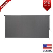 Coolaroo Cordless Roller Shade Outdoor Patio 120in W x 72in L Horizontal Pewter