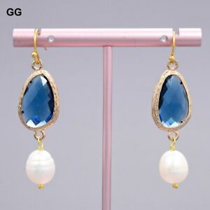 Natural White Rice Pearl Blue Crystal Opal Gold Plated Earrings Cute For Women