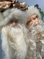 SANTA CLAUS ST NICK CHRISTMAS ORNAMENT VICTORIAN DOLL HEAD LOT OF 2