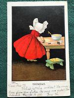 "Little Girl Rolling Dough w Bonnet Color Art Ullman 1905 ""Thursday"" no. 1491"