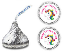 108 UNICORN RAINBOW BIRTHDAY PARTY FAVORS PERSONALIZED KISSES LABELS KISS