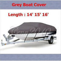 14-16ft 210D Grey Fishing Ski Boat Cover Waterproof For Durable Heavy Duty
