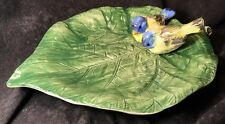Bassano Italy Hand Painted Green Glazed Leaf W/ A Finch Couple, 1274/32X26, Mint