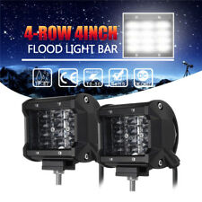 2X 4 Inch 36W/72W Quad Row Work Flood Led Light Bar 4X4 OFFROAD Suv Jeep Truck