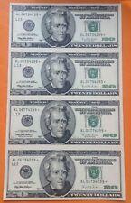 us $ 20 1996 uncut sheet UNC,  excellent condition