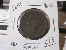 1851 Braided Hair Large cent   Almost Uncirculated cond       Lot # AN-46D