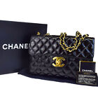 Authentic CHANEL CC Quilted Chain Shoulder Bag Patent Leather Black 620EB463