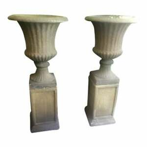 Set of 4 Large Garden Urns on Pedestals English Bath Stone Color
