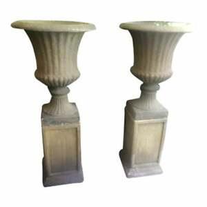 Set of 4  Antique Large Garden Urns on Pedestals English Bath Stone Color