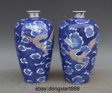 8 Chinese Blue White Porcelain Pottery Two Dragon Play Bead Vase bottle Pot Jar