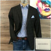 Samuelsohn Mens Sport Coat Blazer Two Button Jacket Super 130s Wool Size 38R