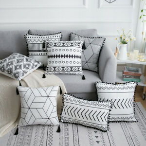 Boho Moroccan Throw Pillow Covers w/Tassel Pompom Trims  Sofa Bed Cushion Cases