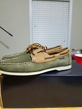 Polo Ralph Lauren Bienne Suede Boat Shoes Size 8 Swamp Army Green Tan