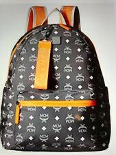 Men MCM Backpack, Nylon, Smoked Pearl Gray,  White Logo,  Orange Trim, Medium