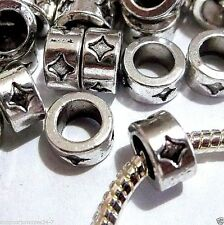 50 pc Lot EUROPEAN CHARM Lrg Core METAL SPACER BEADS Q09 Antique Silver