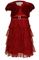 NEW Jona Michelle Girls Party Dress with Velour Shrug - RED