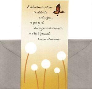 Congratulations Graduation Cash Gift Money Holder Butterfly Hallmark Card