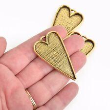 "2 Gold Bezel HEART TRAYS Pendants for Resin, Cabochons, fits 2"" inside chs3470"